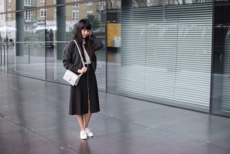 Bomber Jacket and Midi Skirt